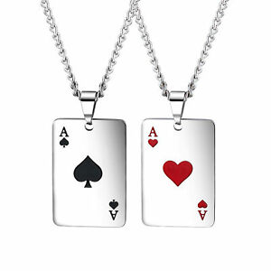 Men Women Stainless Steel Poker Tag Pendant Necklace Ace of Spade Heart Necklace
