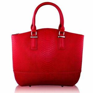 Ladies Handbag Work Bag Women Designer Burgundy Retro Snakeskin Tote 00104