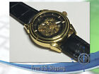 Sewor Mens Skeleton Mechanical Wrist Watch Steampunk Black Leather Luxury