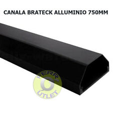 Brateck - Canala copri cavi, in alluminio, 75 cm, colore: Nero larghezza 5 cm