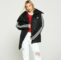 Adidas Originals Track top Quilted Coat / Jacket  - Black / White EC1916 UK 10