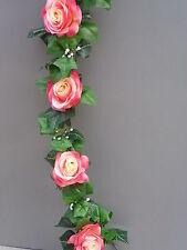8FT Artificial Ivy & Pink- Cream Silk Rose Garland Wedding/Festival Decoration