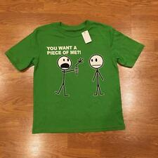 NWT Boys Hybrid T-shirt Green Funny Stick Figures Attitude Size S 6/7 6 7