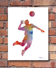 Volleyball Player Art Print Abstract Watercolor Painting Sports Wall Decor