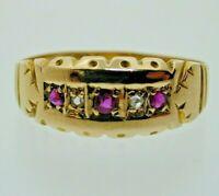 Antique Diamond & Ruby 18 Carat Yellow Gold 5 Stone Ring 1.8 Grams Size L 1/2