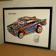 1957 Chevy Chevrolete Car Racing Poster Print Wall Art 18x24