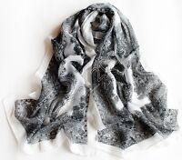 Vintage Women's Fashion Gray Long Soft Paisley Chiffon Silk Wrap Shawl Scarf