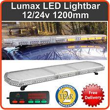 """120cm 1200mm 1.2 Metre 48"""" 12v  24v LED Amber Strobe Beacon Recovery Lightbar"""