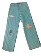 Miss Me Womens Medium Pants Baby Blue Pants Lace Trim Pockets Patches Stitching