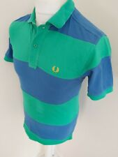 Mens Fred Perry Colour Block Polo Shirt Green Blue Xs 36 Chest Mod Ska Casuals