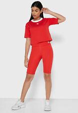 Adidas Originals Motero Pantalones Cortos Mujer Rojo Blanco Deportiva Activewear