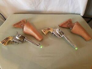 Vintage (2) Mattel Fanner 50 Western Cap Gun Toy Cowboy Swivel Holster