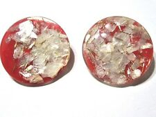 CLIP ON VINTAGE LUCITE RED CONFETTI EARRINGS WHITE MOTHER OF PEARL SHELL & GOLD