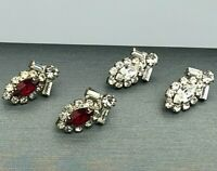 Set of 2 Vintage Art Deco Red & Crystal Clear Rhinestone Earrings Costume Estate