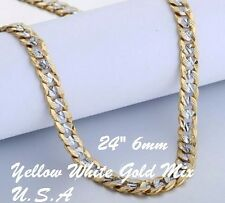 """Hammered Cuban Curb Chain Necklace White Yellow Gold Filled 24"""" 6Mm Usa Shipping"""