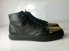 Gucci High Top MEN Nappa Moorea Black Leather Gold Studs Sneakers Size 09G
