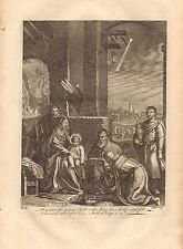 1770  ANTIQUE PRINT -BIBLE- THEY SAW THE YOUNG CHILD WITH MARY AND FELL DOWN