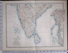1904 Grand Carte Inde Sud Feuille Ceylan Supérieur Burma Madras Mysore