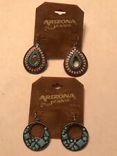 & Silver Dangle Earrings *New* 2 Pair - Arizona Jeans Turquoise