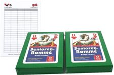 Senioren Rommé, Canasta, Bridge Spielkarten ASS Zweierpaket mit Ludomax Block