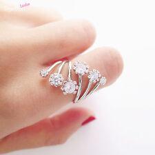 Sterling Silver Sparkling Crystal CZ Flower Line Wrap Ring Bridal Girls M