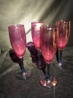 Antique Vintage Cranberry Wine Glasses with a Blue Purple Stem, Set of 4