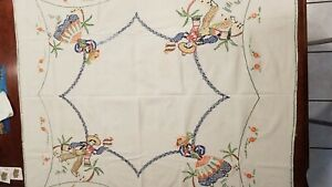 """Vintage linen tablecloth hand embroidered Mexican/Southwest motif 50 x 54"""""""