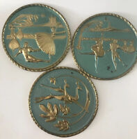 "Vintage 1950S Wall Hangings Set Round Gold Aqua Brass 7"" Lot 3"