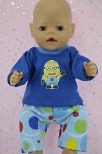"""Play n Wear Doll Clothes To Fit 17"""" Baby Born SPOT PANTS~T-SHIRT"""
