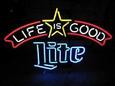 "New Miller Lite Life Is Good Beer Neon Light Lamp Sign 24""x20"" Decor Wall Glass"