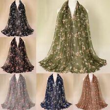 Floral Printed Chiffon Scarf Muslim Hijab Shawls Headband Long Turbans Neck