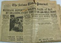 World War II WW2 Russian Front Newspaper July 8, 1941 Selma Times Alabama