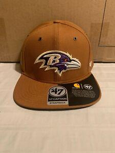 Baltimore Ravens NFL '47 Brand Carhartt Mens Brown Strapback Adjustable Hat New