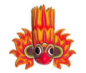 "Handmade Wood Wall Home Decor Tiki Sri Lankan Fire Detail Mask Sculpture 12"""