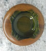 VTG Avocado Green Glass Ashtray with Handmade Wooden Wood Frame MCM Midcentury