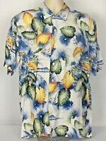 Nautica Short Sleeve Button Front Hawaiian Shirt Floral Leaf Rayon Mens Large