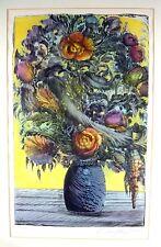 Ernst Fuchs 1930 Wien / Blumen in einer Vase / Farblithographie, handsigniert