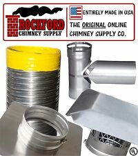 """6"""" x 20' Smooth Wall Chimney Liner Tee Kit - 2Ply .013 316 Flex Stainless Steel"""
