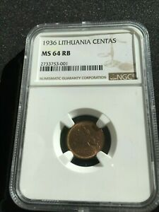 (C753) 1936 Lithuania 1 Centas  NGC  MS64 RB
