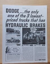 1935 magazine ad for Dodge Trucks - commercial panel, express, hydraulic brakes