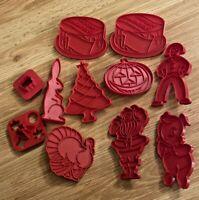Vintage 11 Red Plastic Tupperware Cookie Cutters- Santa, Xmas Tree, Holidays