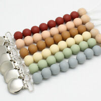 Dummy Pacifier Clips Round Silicone Beads Baby Teething Sensory Soother Holder