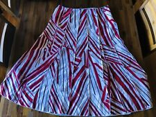 EMANUEL UNGARO A Line Skirt Red / White / Black lines Silk - Size 14