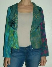 Woman Small Medium Wild Thing Chico Green Tie Dye Batik Print Open Duster Kimono