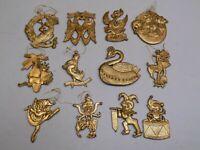 Twelve 12 Days of Christmas Gold Ornaments Hong Kong Retro Vintage Old Set Lot