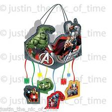 MARVEL AVENGERS ASSEMBLE Boys Drum Pull Pinata Party Game