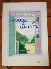 Vintage May 1936 Original Illustration House & Garden Magazine Cover Art Drawing