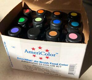 AmeriColor Amerimist Airbrush Food Color Assorted 12 0.7oz Bottles New Open Box