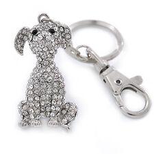Clear Austrian Crystal Dog Keyring/ Bag Charm In Silver Tone - 11cm L