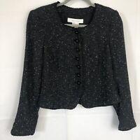 ZARA Womens sz LARGE black  White Tweed jacket blazer